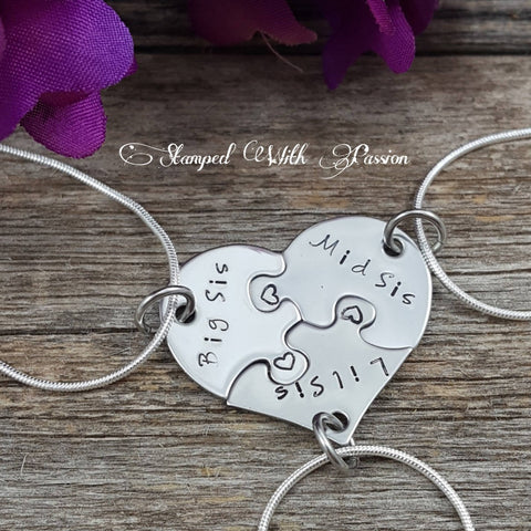 3 Piece Heart Puzzle Necklace Set