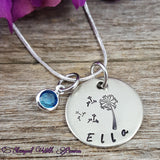 Dandelion Necklace with birthstone