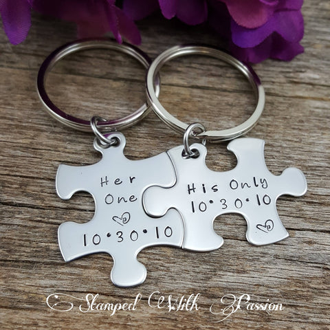 His and Her Puzzle Piece Key chain Set  With Date
