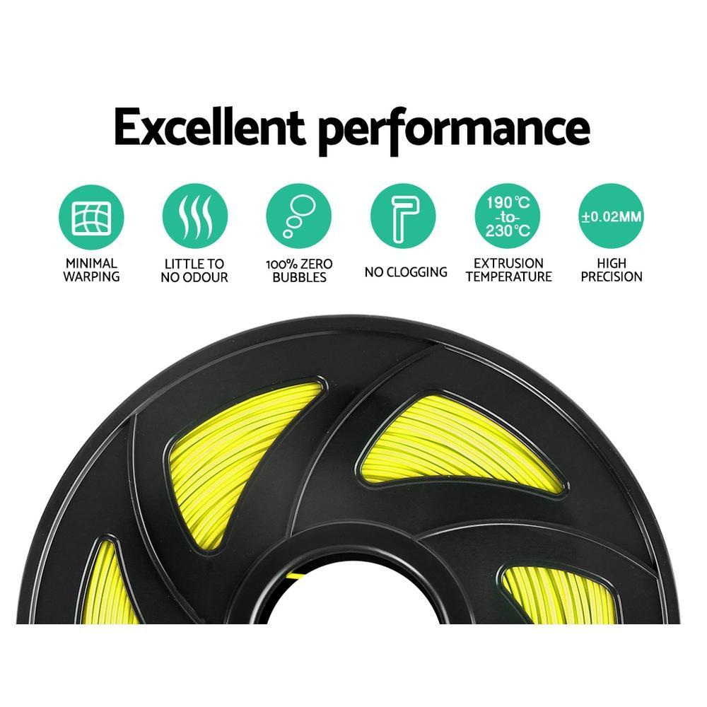 3D Printer Filament PLA 1.75mm 1kg per Roll Yellow