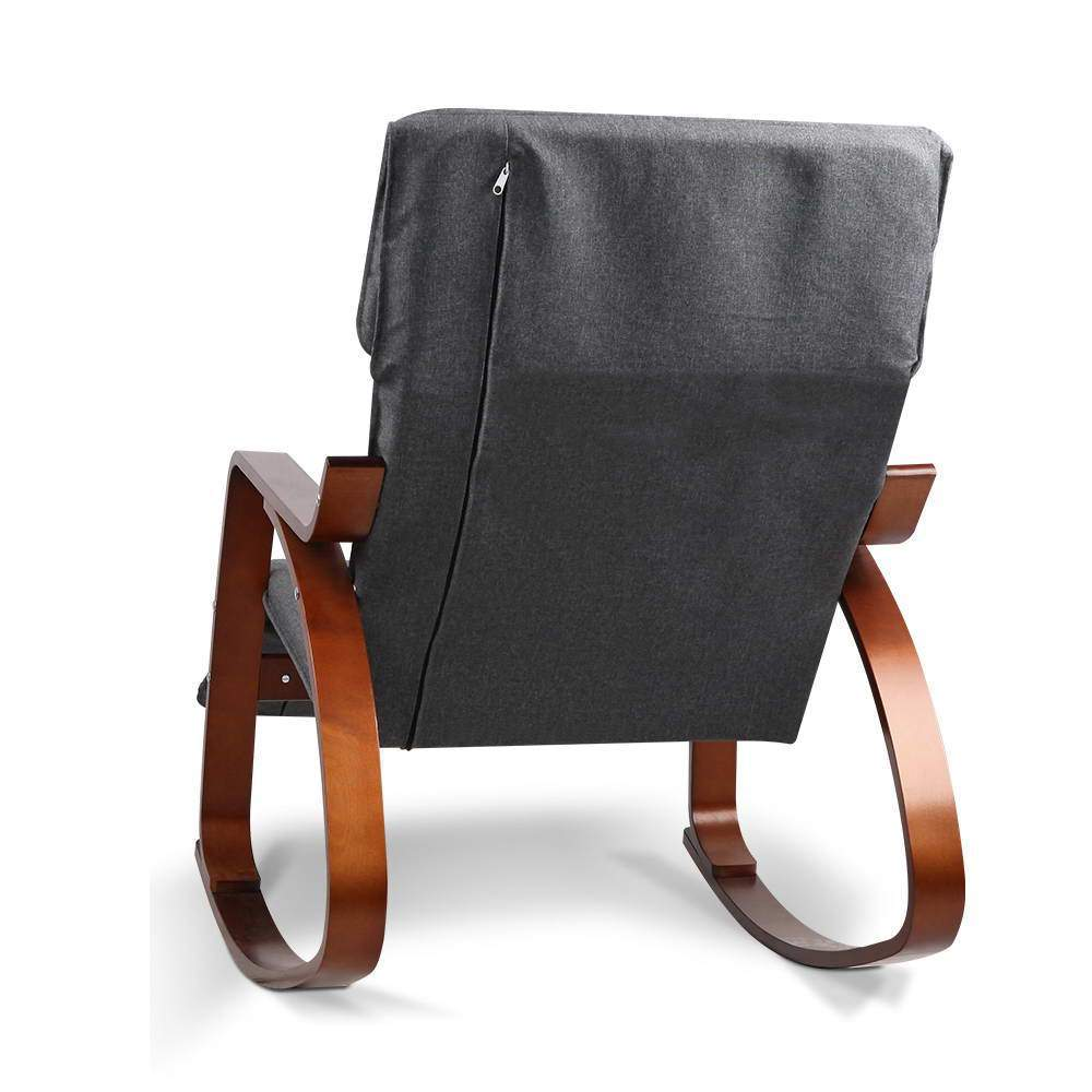 Artiss Fabric Rocking Armchair with Adjustable Footrest - Charcoal