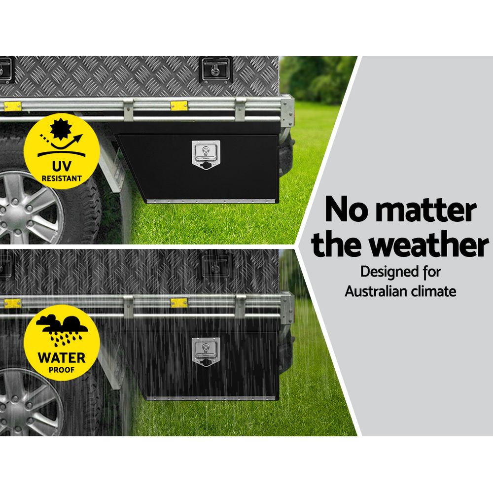 Giantz Black Under Tray Tool Box Pair Set Ute Steel Toolbox Trailer Underbody