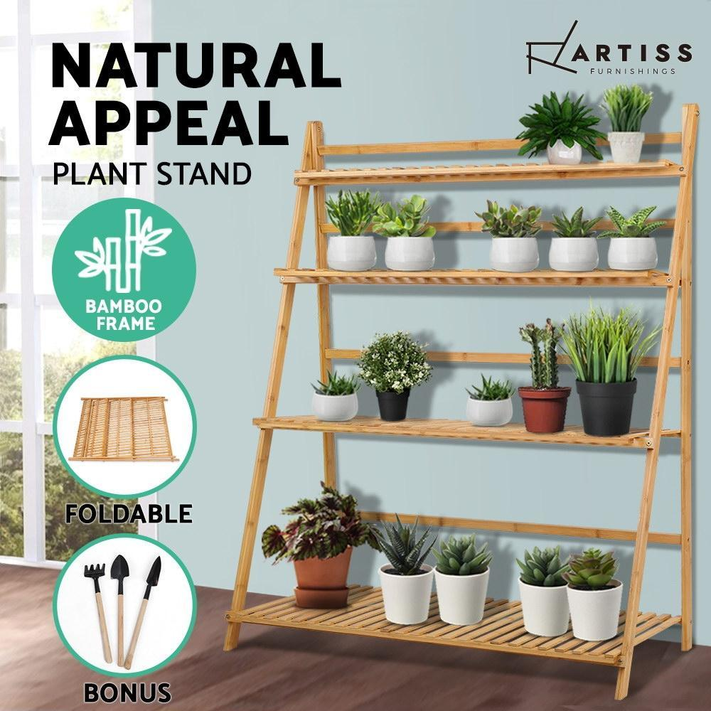 Artiss Bamboo Wooden Ladder Shelf Plant Stand Foldable