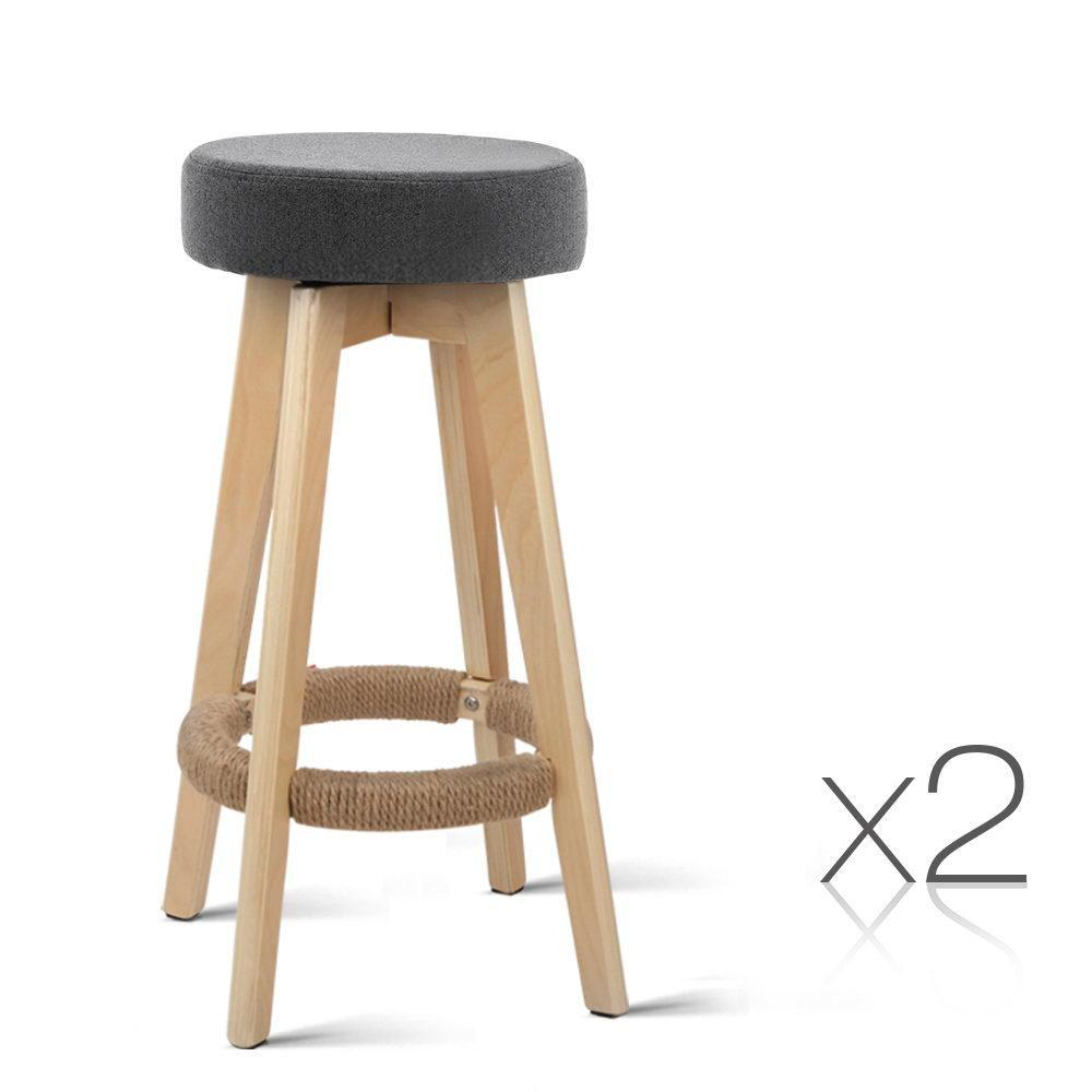 Artiss 2x Kitchen Bar Stools Wooden Bar Stool Swivel Barstools Counter Chairs 74cm Fabric Grey