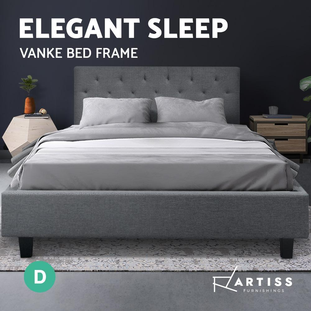 Artiss VANKE Double Size Bed Frame Base Fabric Headboard Wooden Mattress