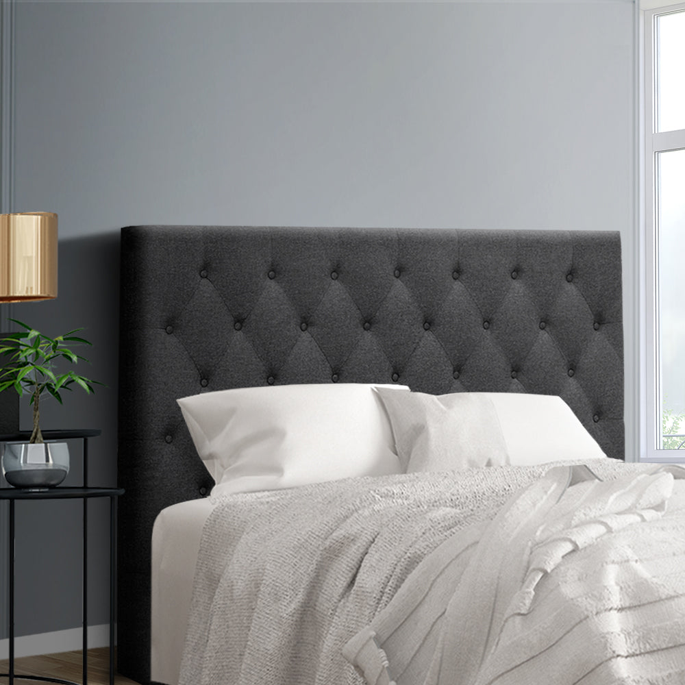 Double Size Bed Head Headboard Bedhead Fabric Frame Base CAPPI Charcoal
