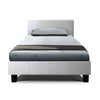 Bed Frame King Single Full Size Base Mattress Platform Leather Wooden White NEO