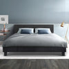 Bed Frame Queen Full Size Base Mattress Platform Fabric Wooden Charcoal NEO