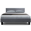Bed Frame Queen Size Base Mattress Platform Full Size Fabric Wooden Grey NEO