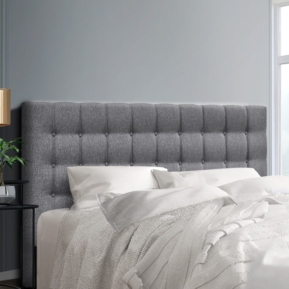 King Size Bed Headboard Bed Frame Head Bedhead Fabric Base RAFT Grey
