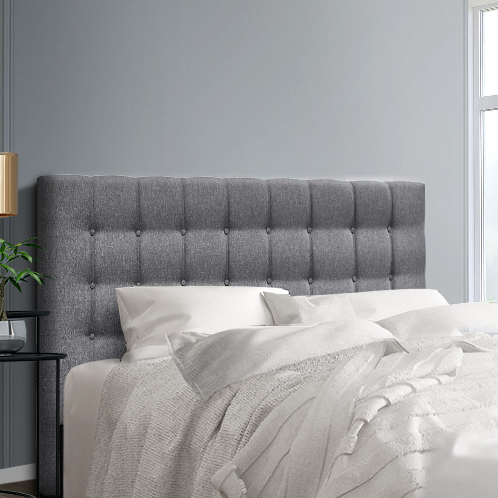 Queen Size Bed Headboard Bed Frame Head Bedhead Fabric Base RAFT Grey