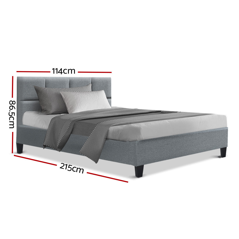 Bed Frame King Single Size Base Mattress Platform Fabric Wooden Grey TINO