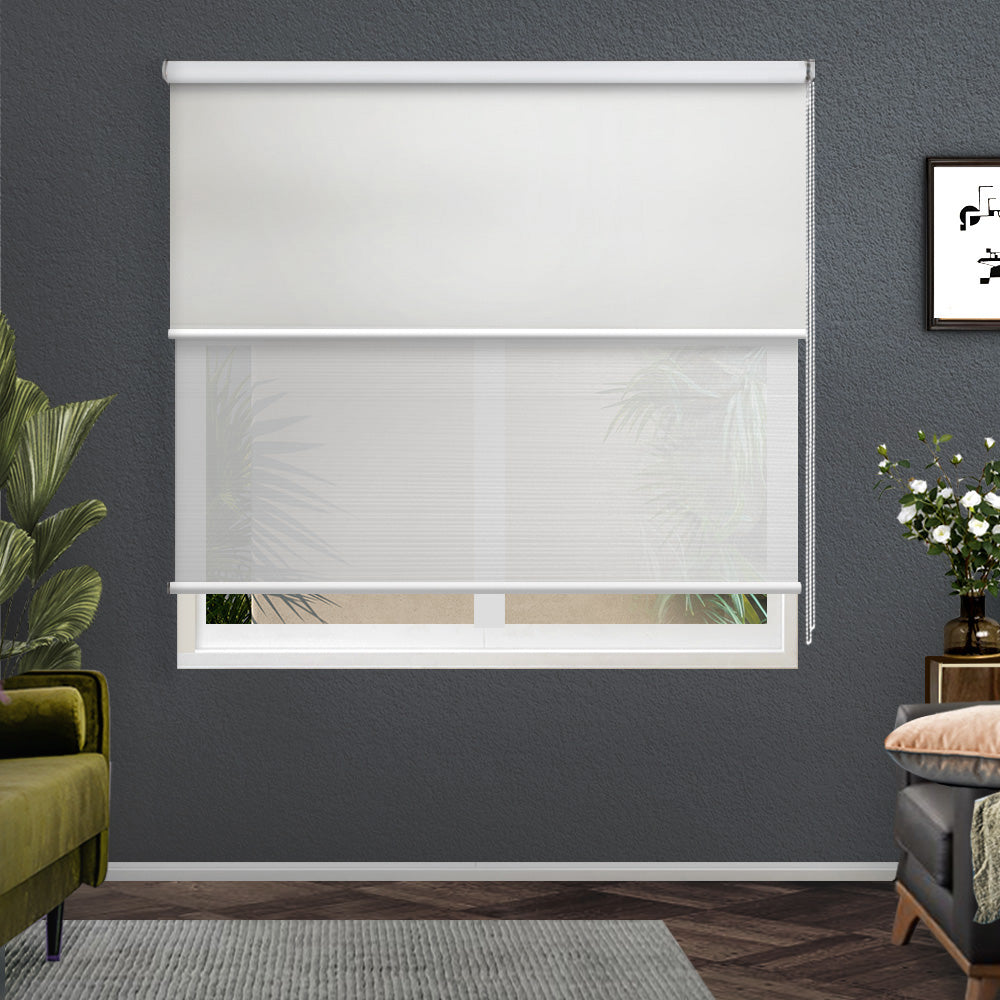 Roller Blinds Blockout Blackout Curtains Window Double Dual Shades 1.2X2.1M WHWH