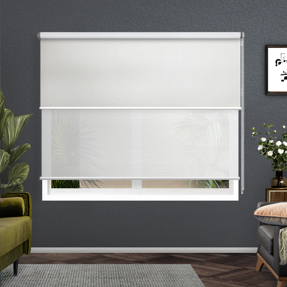 Roller Blinds Blockout Blackout Curtains Window Double Dual Shades 1.5X2.1M WHWH