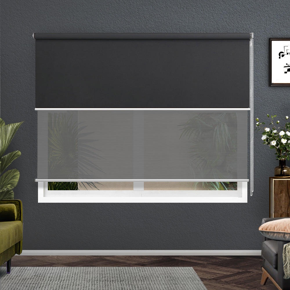 Roller Blinds Blockout Blackout Curtains Window Double Dual Shades 1.8X2.1M GRDR
