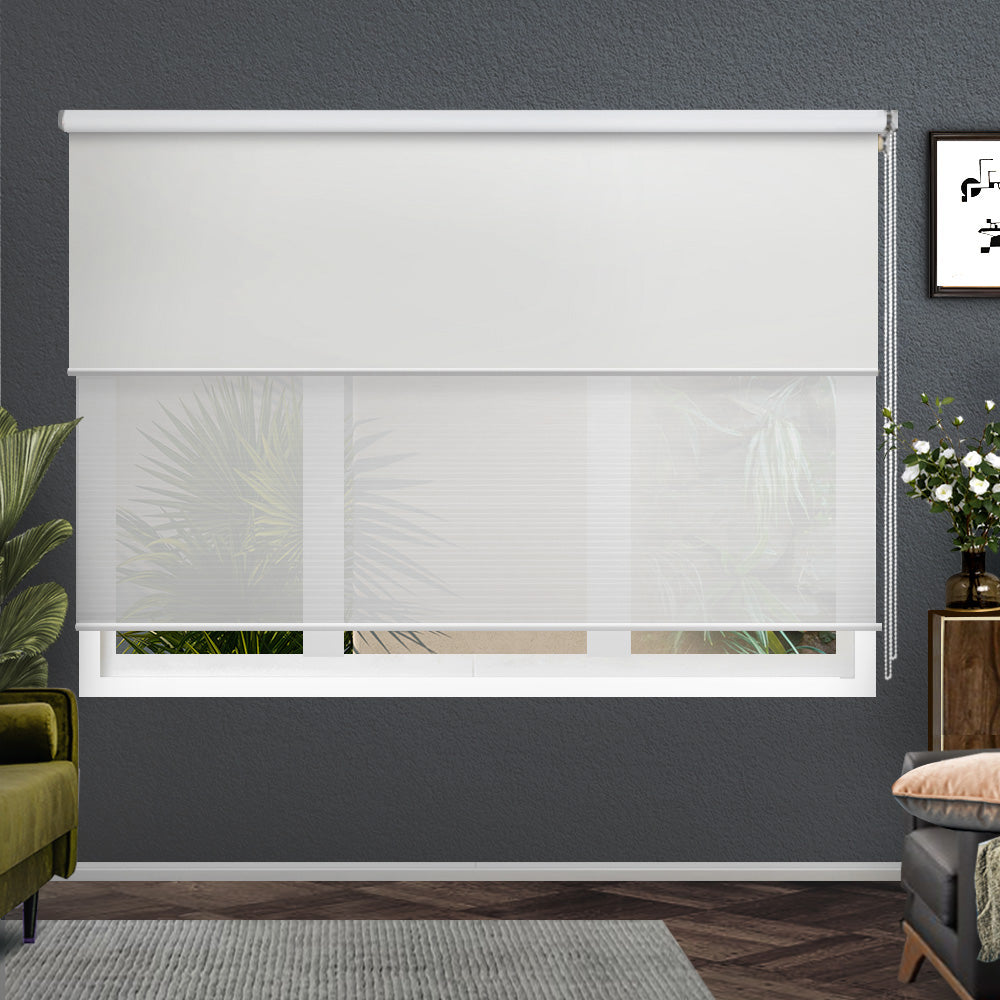 Roller Blinds Blockout Blackout Curtains Window Double Dual Shades 2.4X2.1M WHWH
