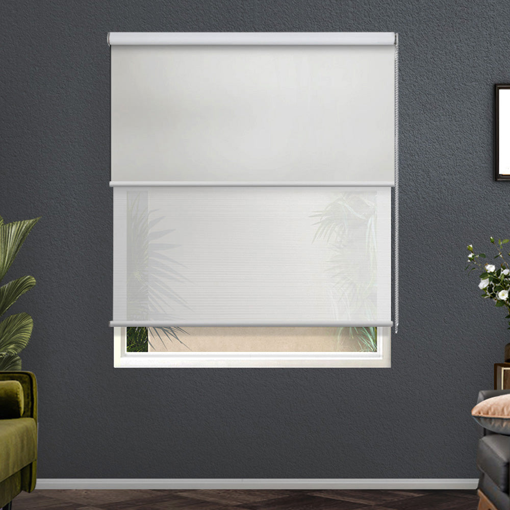 Roller Blinds Blockout Blackout Curtains Window Double Dual Shades 0.9X2.1M WHWH
