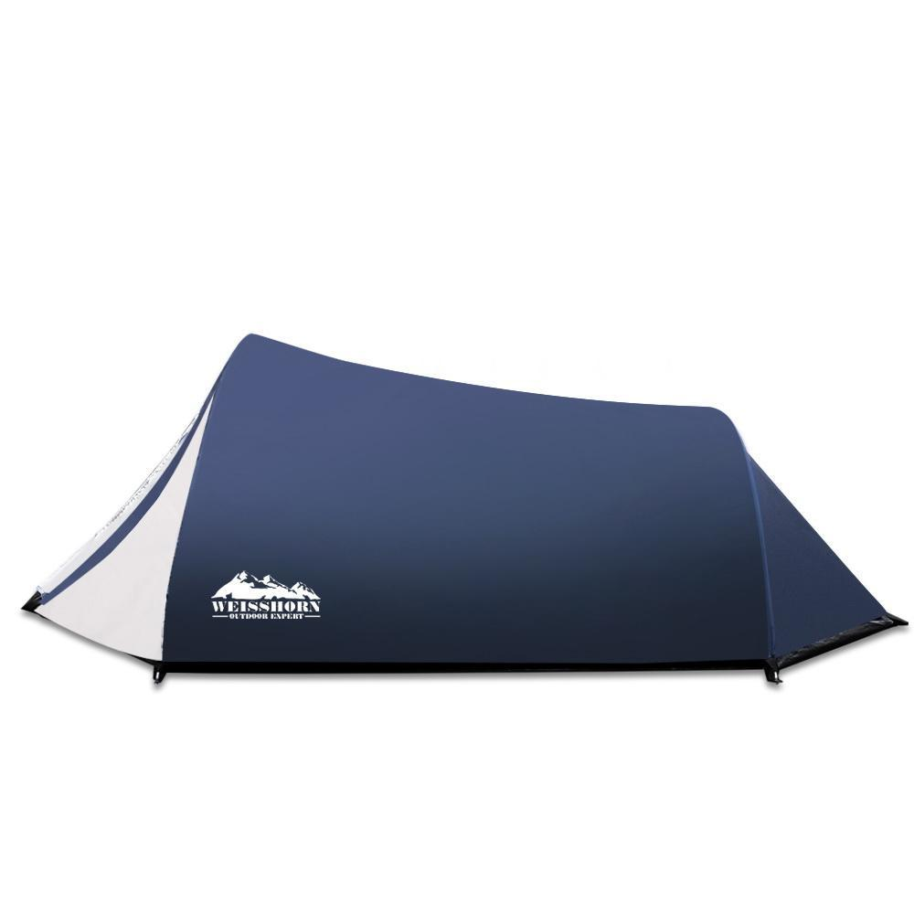 Weisshorn 2-4 Person Canvas Dome Camping Tent Navy and White
