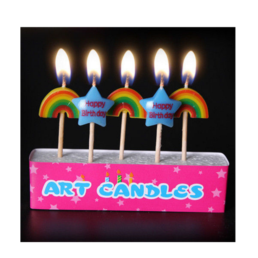 5pcs Colored Candles Birthday Cake Party Supply Celebration Parties Decoration
