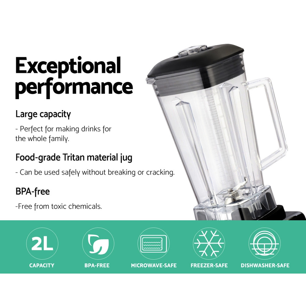 Devanti 2L Digital Commercial Blender LED Display Black