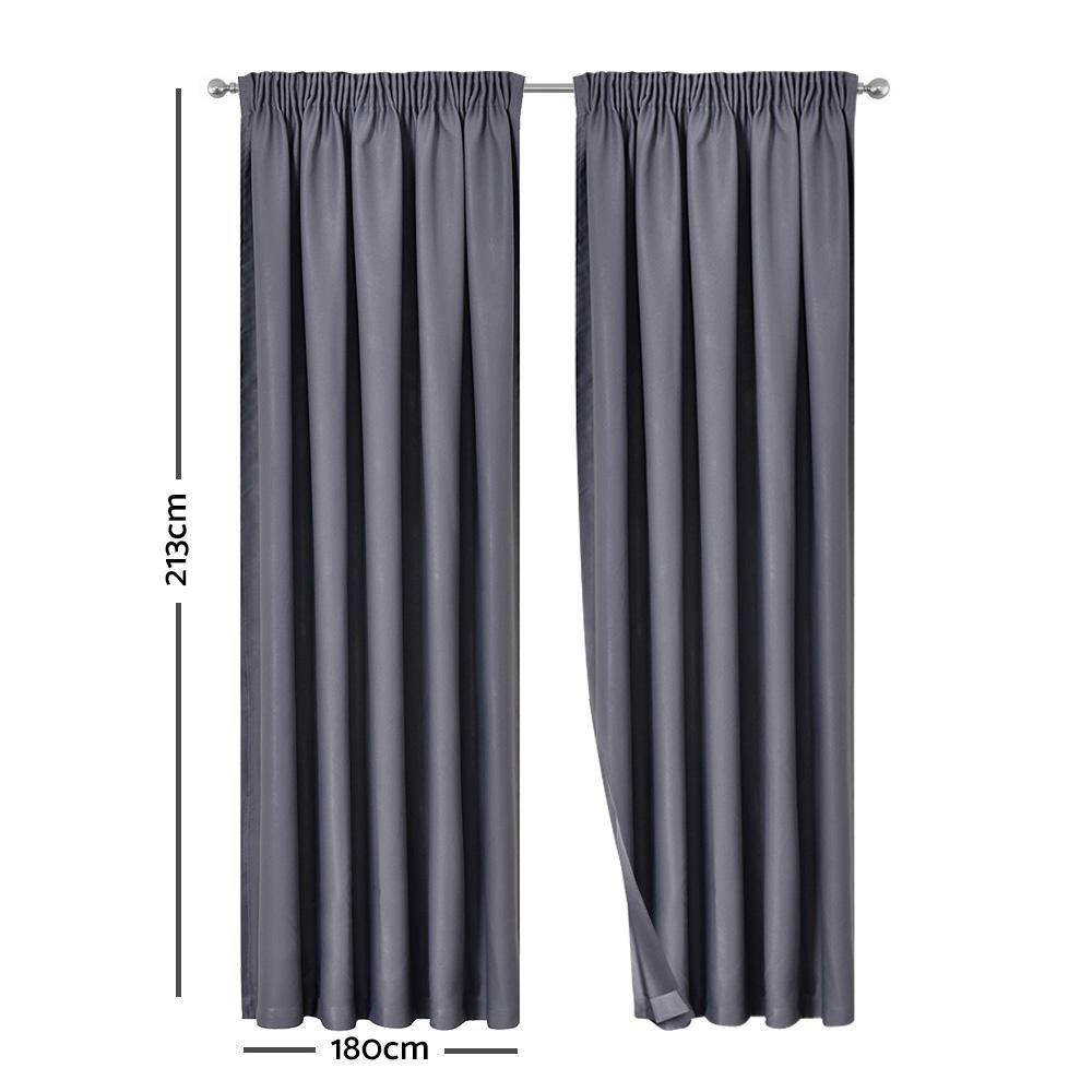 Artqueen 2X Pinch Pleat Pleated Blockout Curtains Dark Grey 180cmx213cm