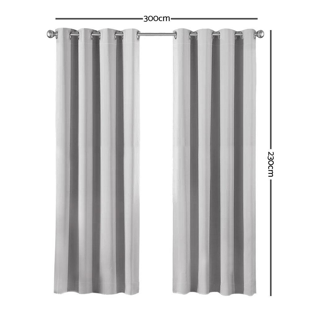 Art Queen 2 Panel 300 x 230cm Eyelet Block Out Curtains - Light Grey
