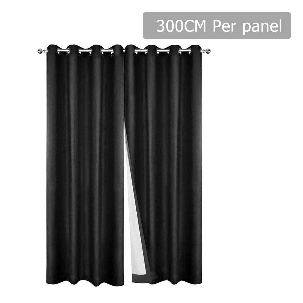 Art Queen 2 Panel 300 x 230cm Eyelet Blockout Curtains - Black