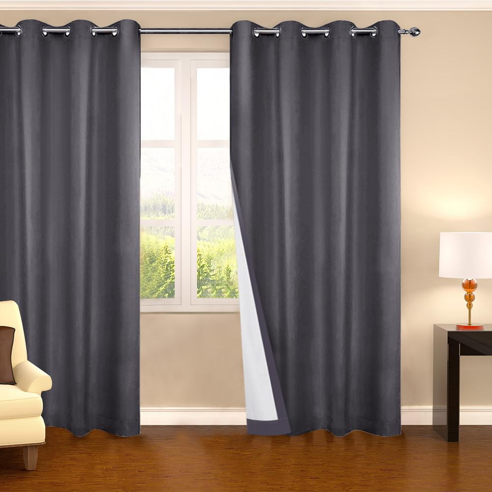 Art Queen 2 Panel 180 x 230cm Eyelet Blockout Curtains - Grey