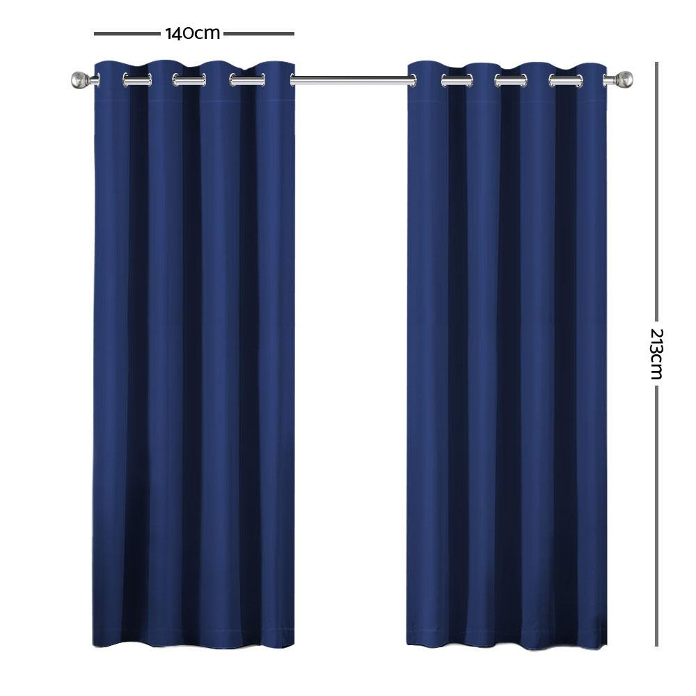 Art Queen 2 Panel 140 x 213cm Block Out Curtains - Navy