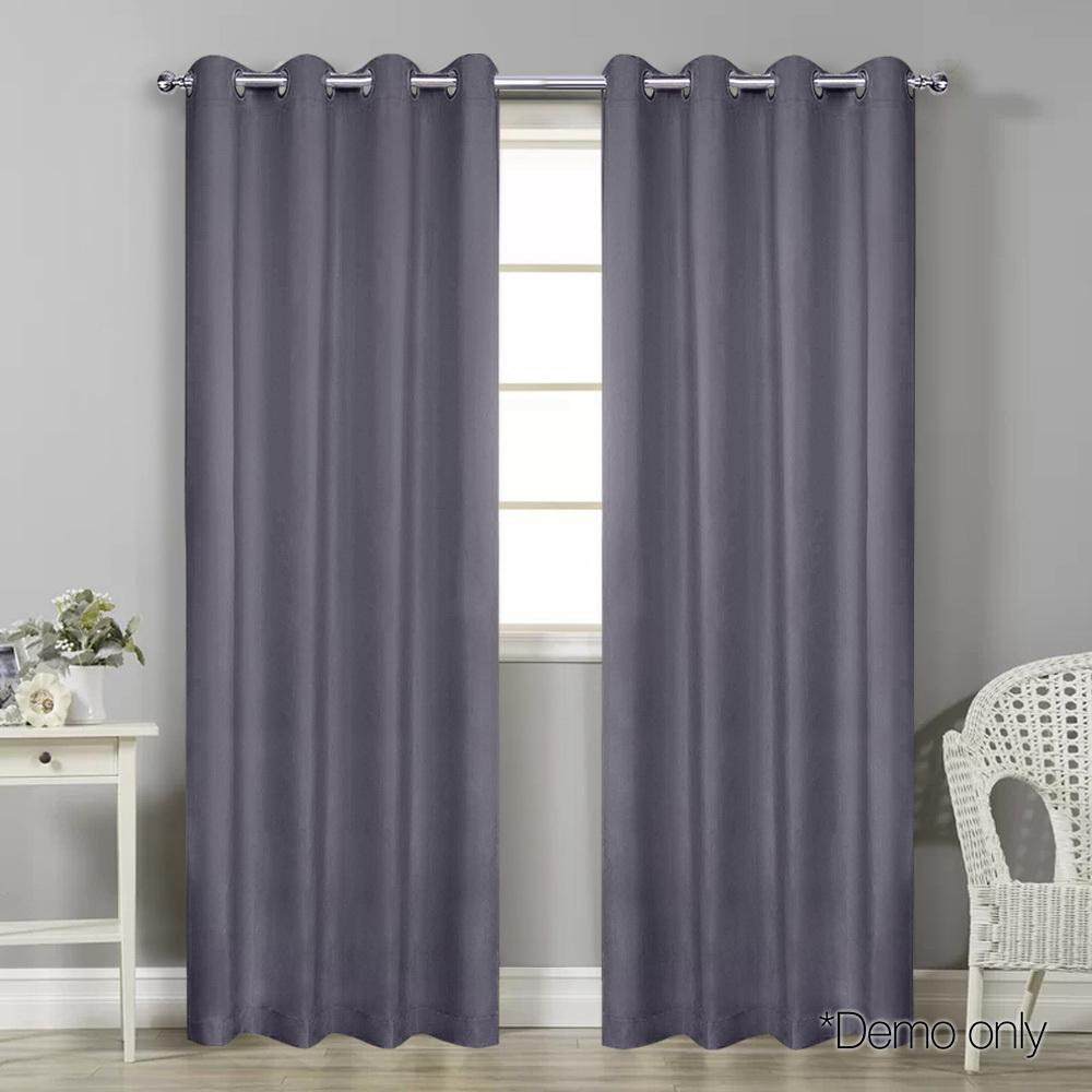 Art Queen 2 Panel 240 x 213cm Block Out Curtains - Grey