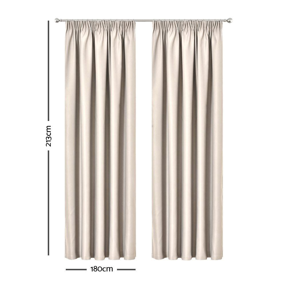Art Queen 2 Pencil Pleat 180x213cm Blockout Curtains - Sand