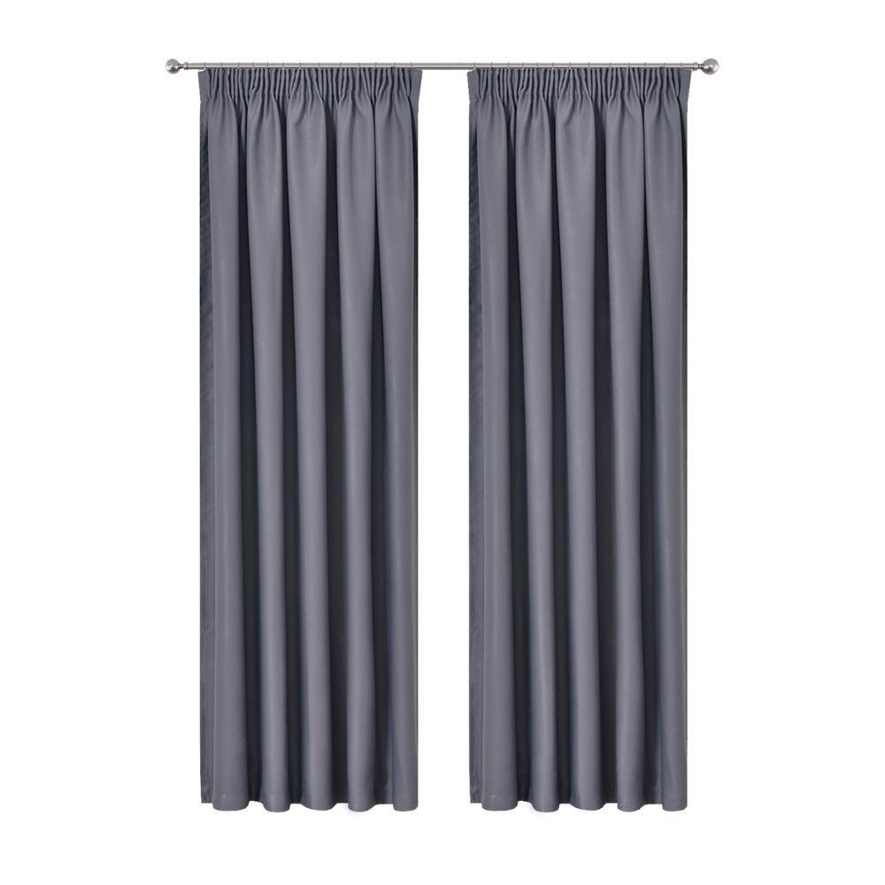 Art Queen 2 Pencil Pleat 240x213cm Blockout Curtains - Dark Grey