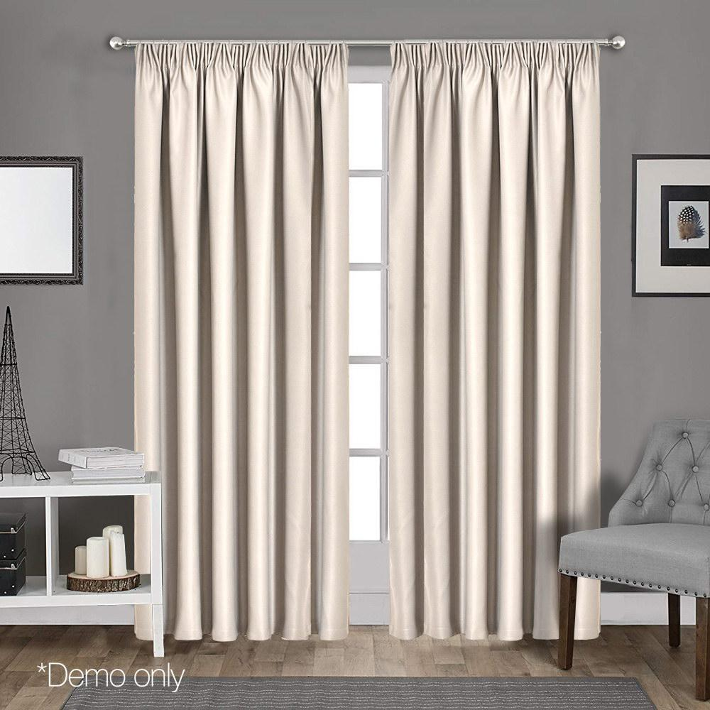 Art Queen 2 Pencil Pleat 240x213cm Blockout Curtains - Sand