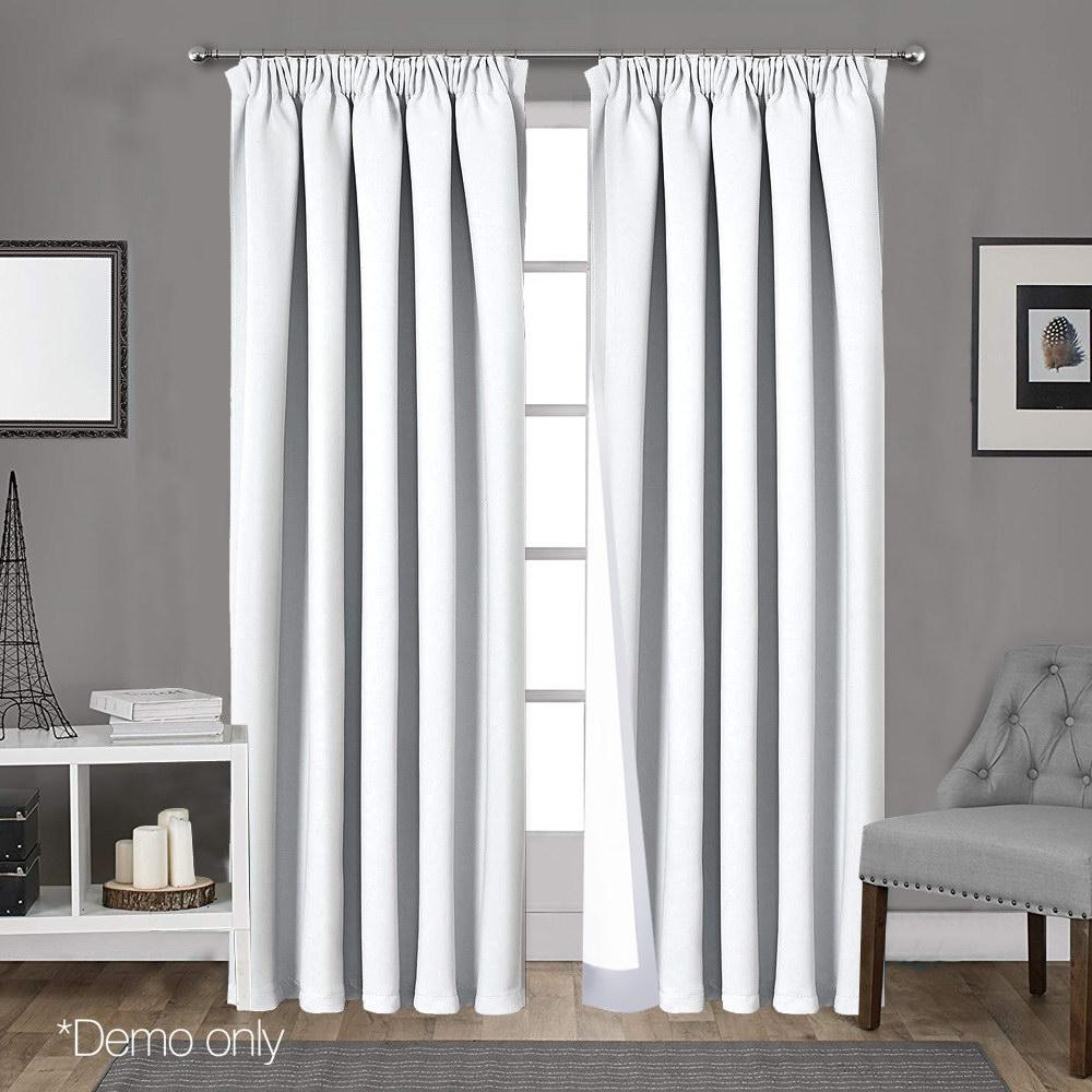 Art Queen 2 Pencil Pleat 140x230cm Blockout Curtains - White