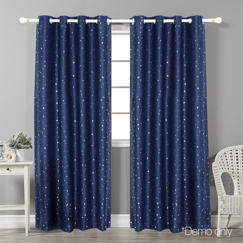 Art Queen 2 Star Blockout 140x213cm Blackout Curtains - Navy