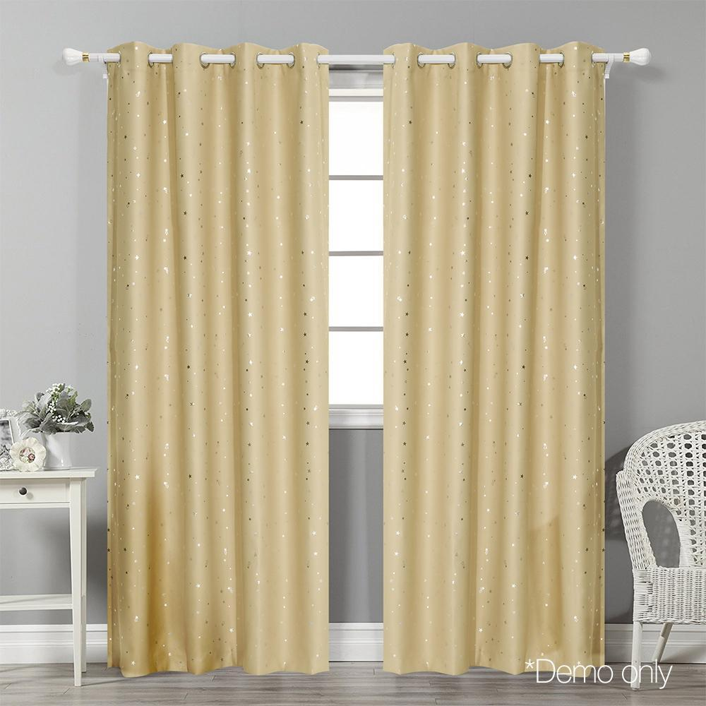 Art Queen 2 Star Blockout 180x213cm Blackout Curtains - Light Grey