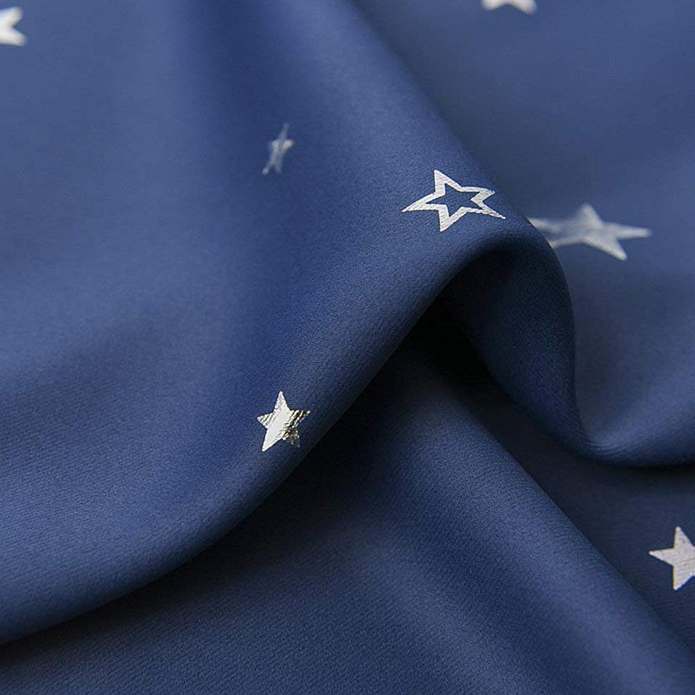 Art Queen 2 Star Blockout 140x230cm Blackout Curtains - Navy