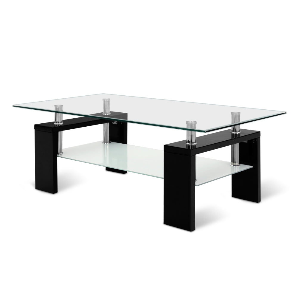 Artiss 2 Tier Glass Coffee Table - Black