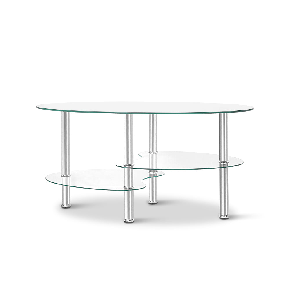 Artiss 3 Tier Coffee Table - Glass