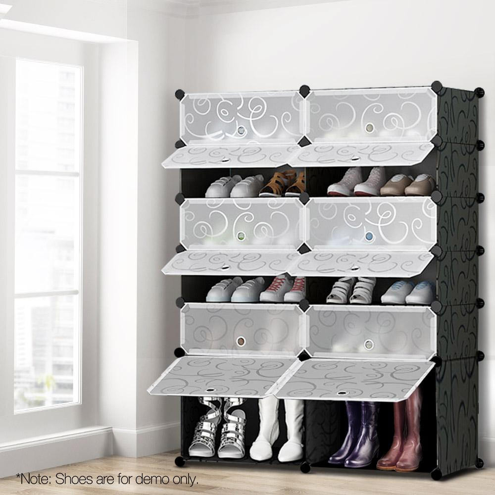 12 Cube Stackable Shoe Rack Storage Cabinet - Black & White