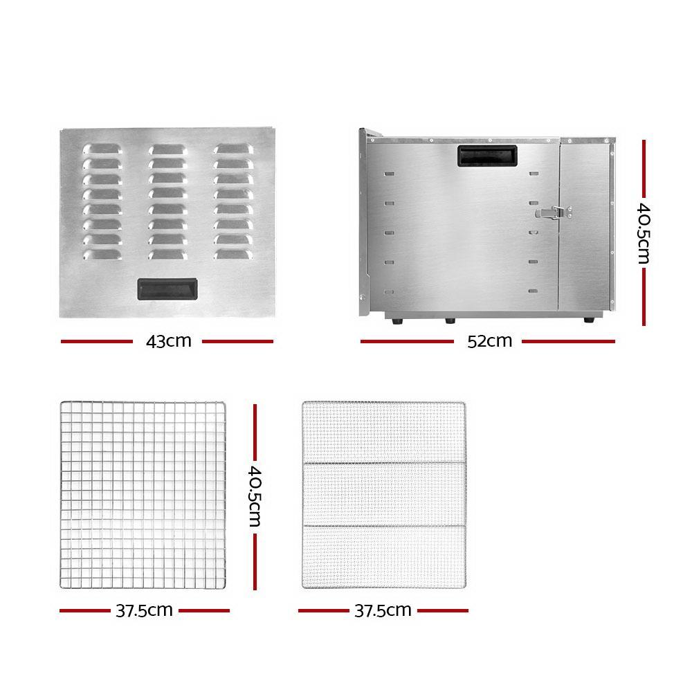 DEVANTI Food Dehydrator 304 Stainless Steel 10 Trays 1000W