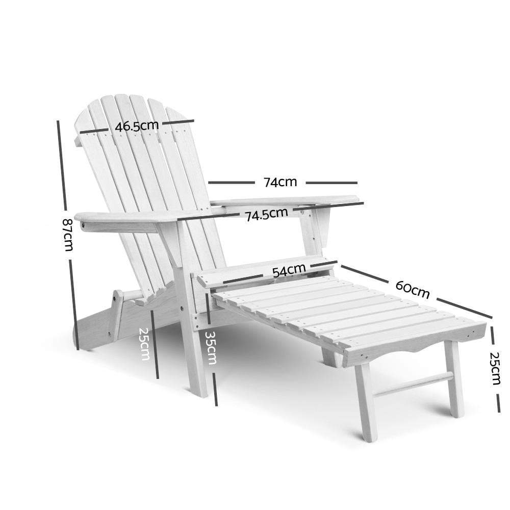 Gardeon 3 Piece Outdoor Adirondack Lounge Beach Chair Set - White