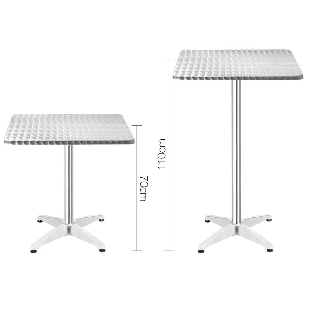 Gardeon Aluminium Adjustable Square Bar Table - Silver