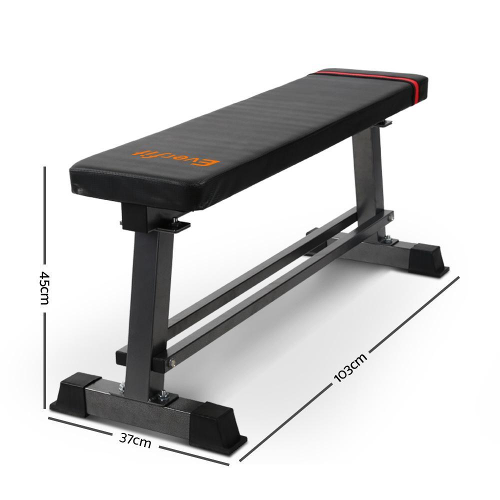 Everfit Flat Bench Weight Press Fitness Gym Exercise Equipment