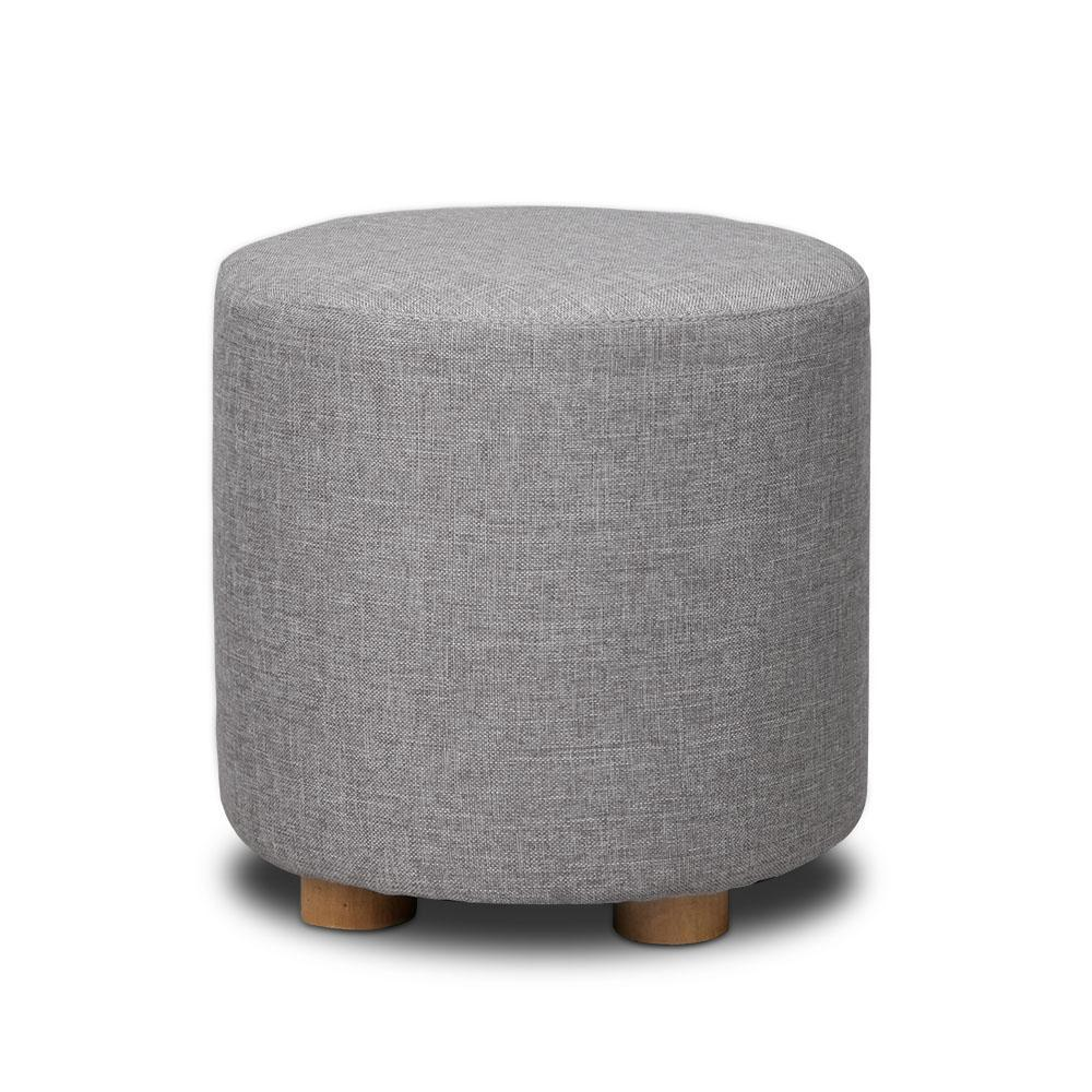 Artiss Fabric Round Ottoman - Light Grey
