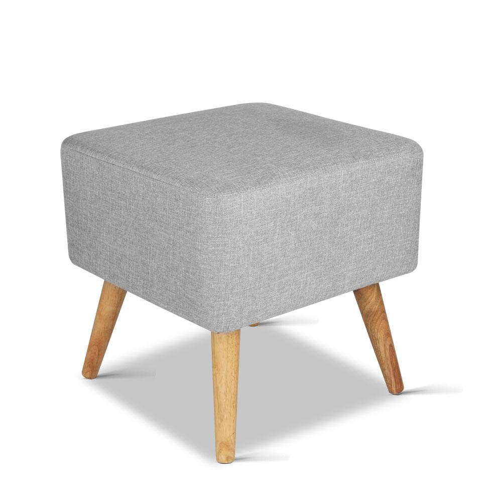 Artiss Fabric Square Foot Stool - Grey