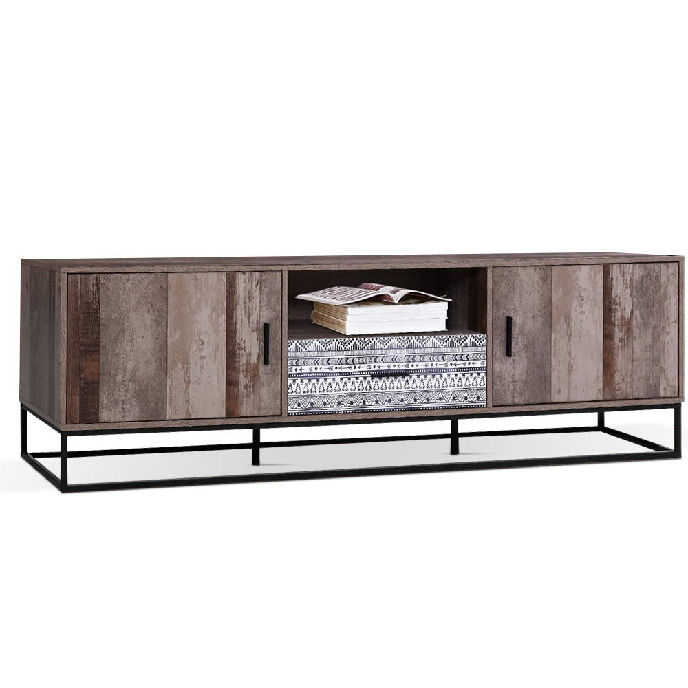Artiss TV Cabinet Entertainment Unit Stand Storage Wooden Industrial Rustic 180cm