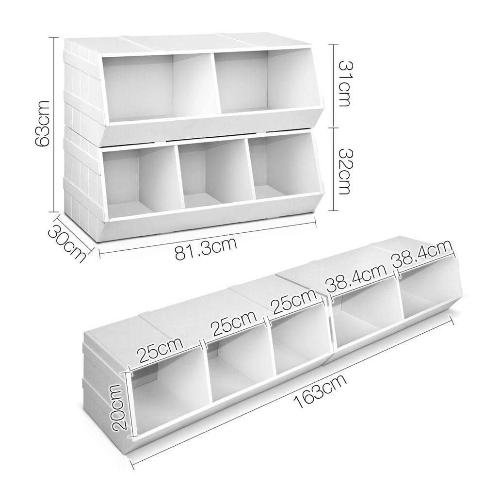 Keezi Kids Toy Box Bookshelf Storage Cabinet Stackable Bookcase Shelf Organiser