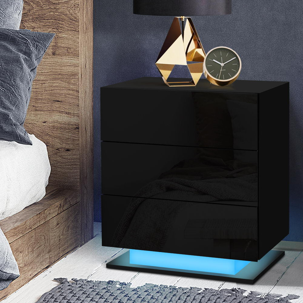 Artiss Bedside Tables Side Table RGB LED Lamp 2 Drawers Nightstand Gloss Black