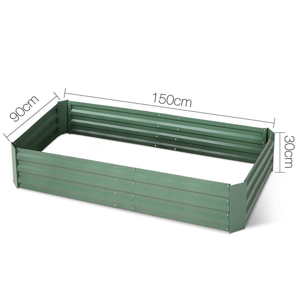 Green Fingers Set of 2 Galvanised Steel Garden Bed - Green